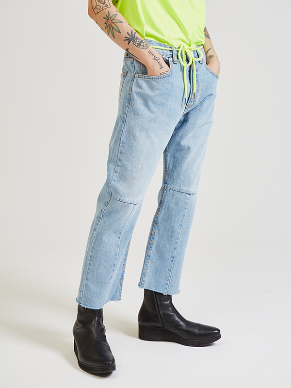 neon string crop denim pants - UNISEX