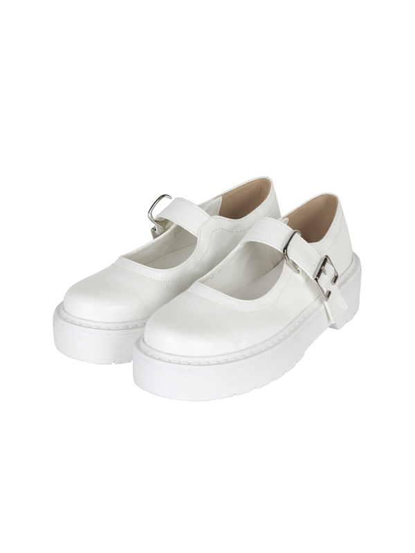 ACIDITY - PLATFORM MARY JANE SHOES (WHITE)