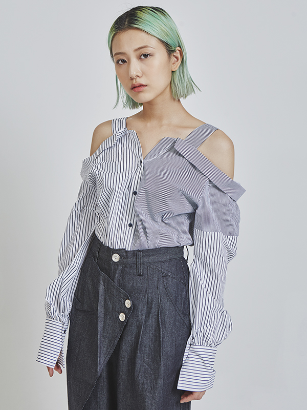 stripe off shouler blouse (2 color)