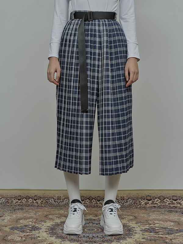 SALE ACIDITY - BELTED CHECK PLEATS PANTS (NAVY)