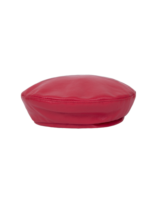 leather simple red beret