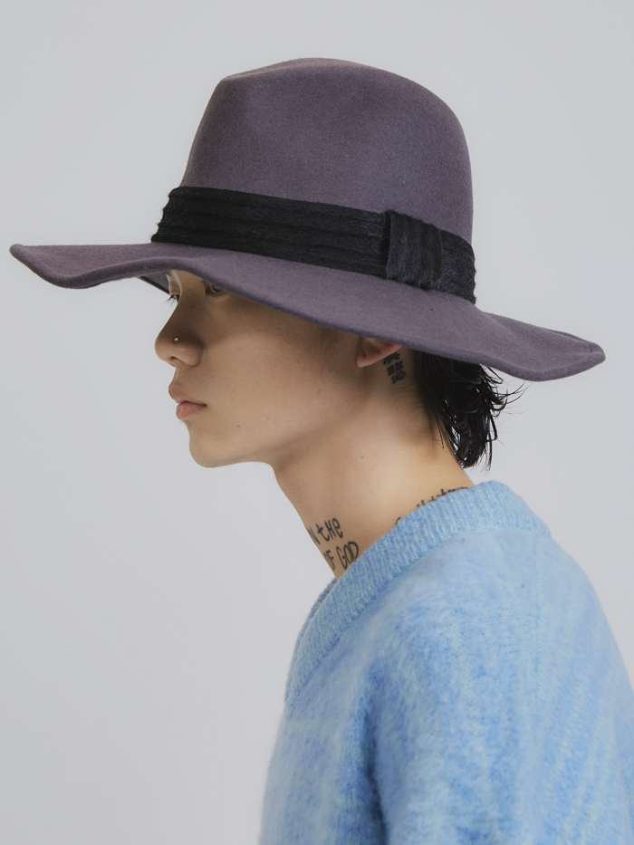 wool calf skin wire fedora hat (2 color)