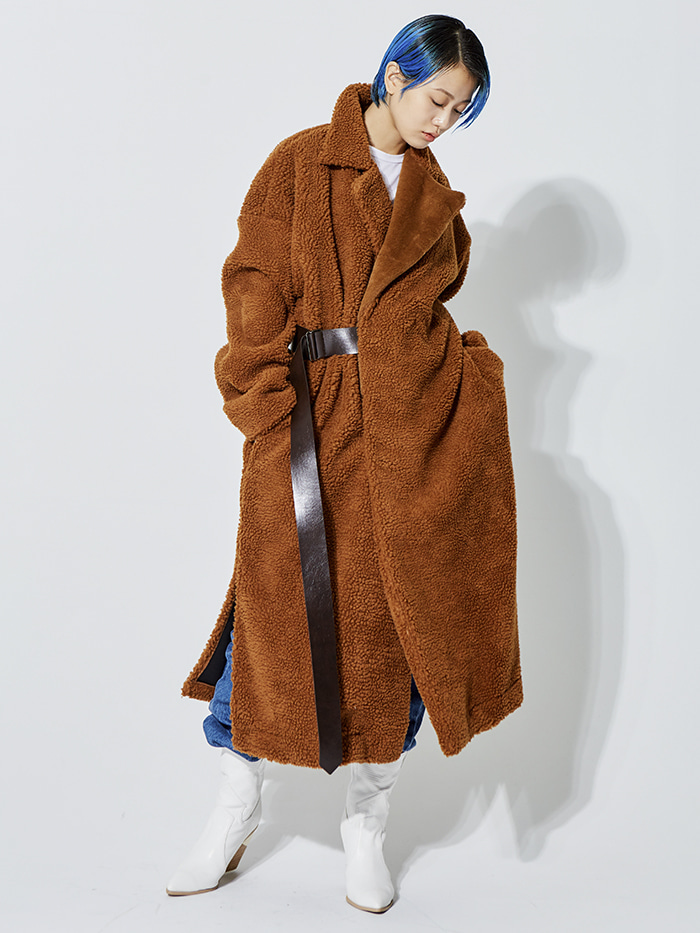 belted long shearing over coat (2 color) - UNISEX