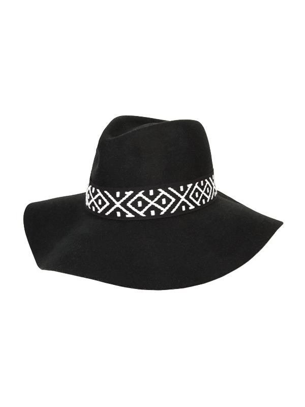 wide wool ethnic fedora hat (2 color)