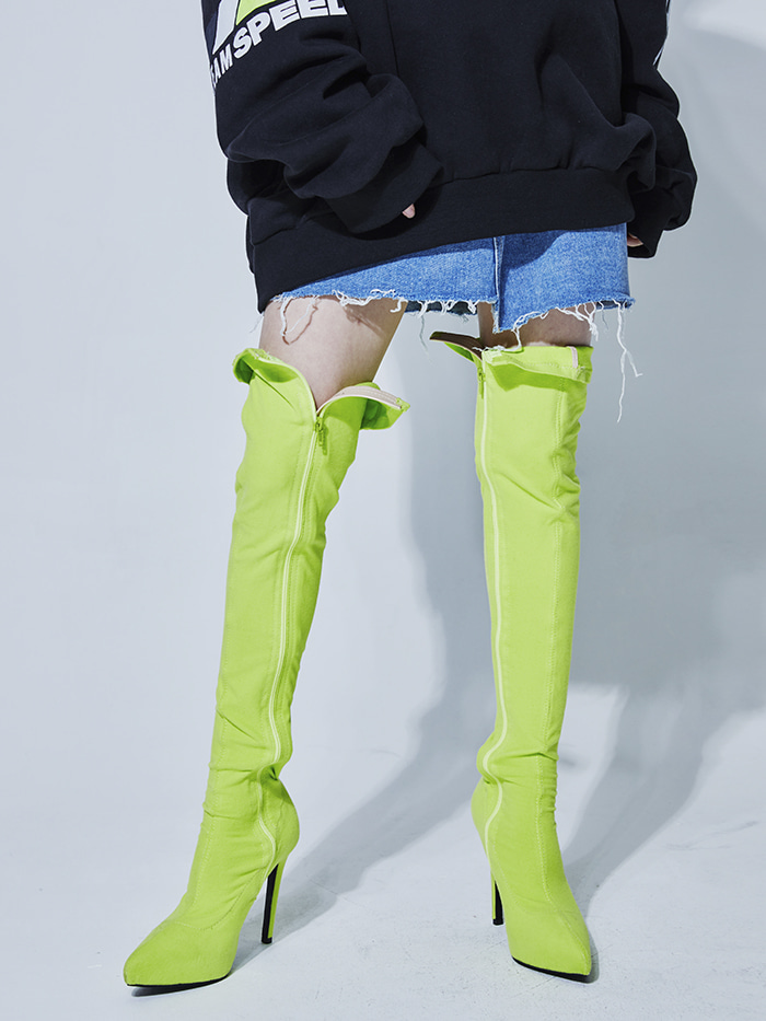neon thigh-high boots