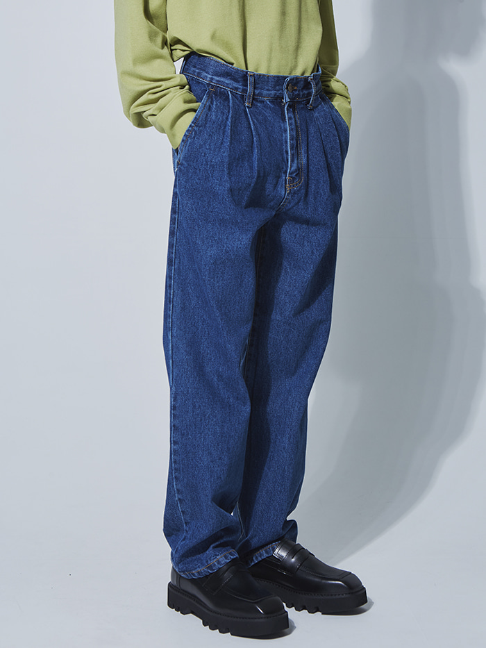 two-tuck wide denim pants - UNISEX