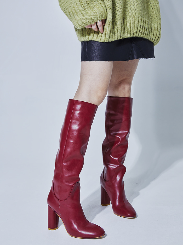 straight leather high boots (2 color)