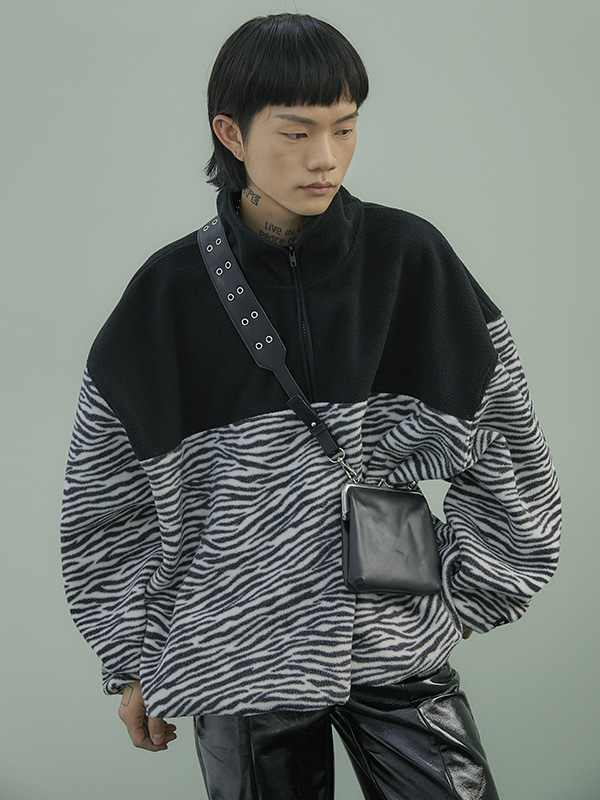 zebra fleece anorak (2 color) - UNISEX