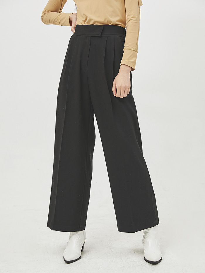 pintuck banding wide slacks (3 color)