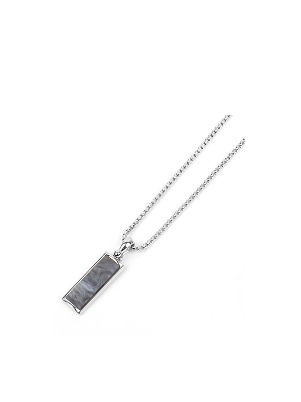 rectangle silver necklace (2 color)