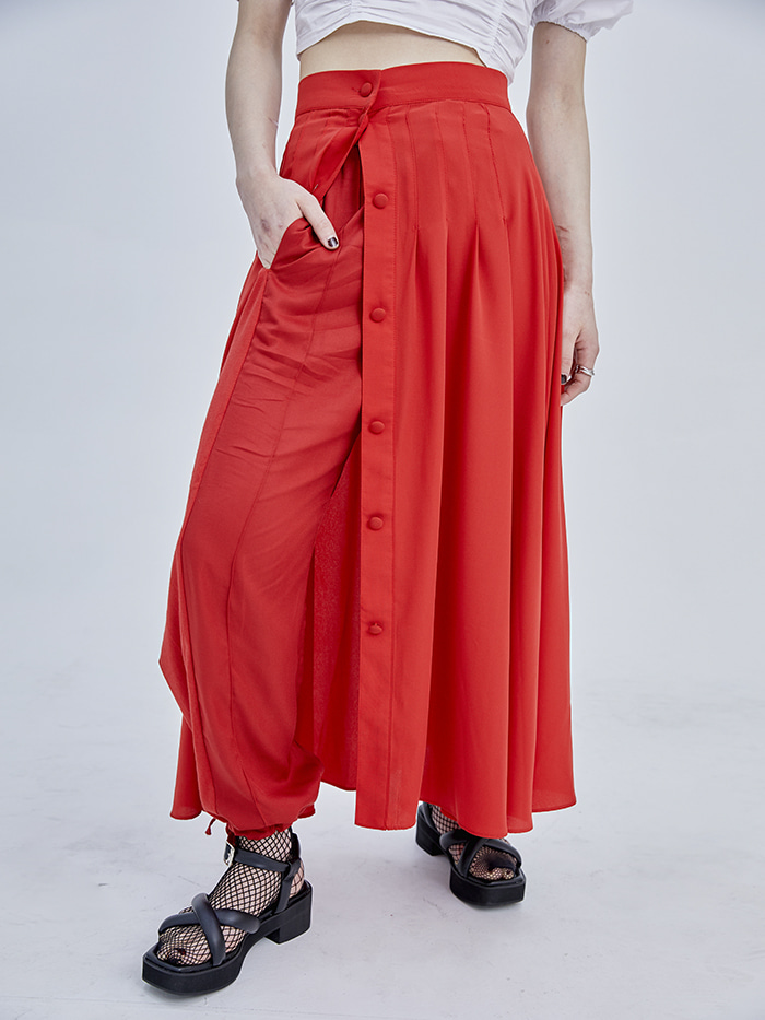 button pintuck long flare skirt (2 color) - woman