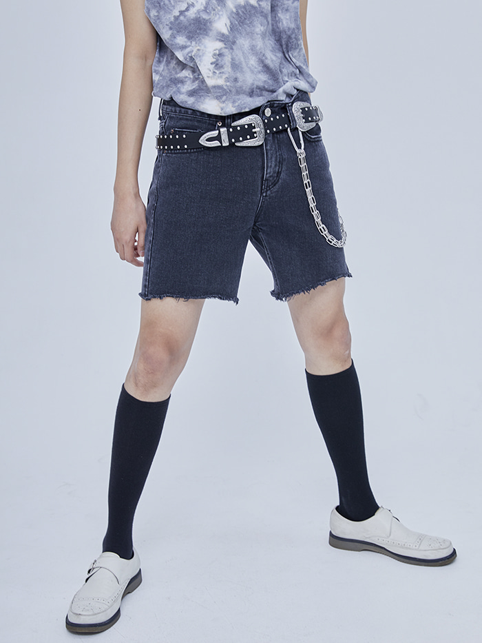 washed black denim short pants - men