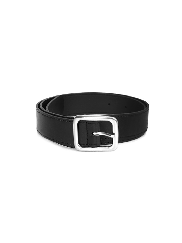 silver buckle leather belt (4 color)