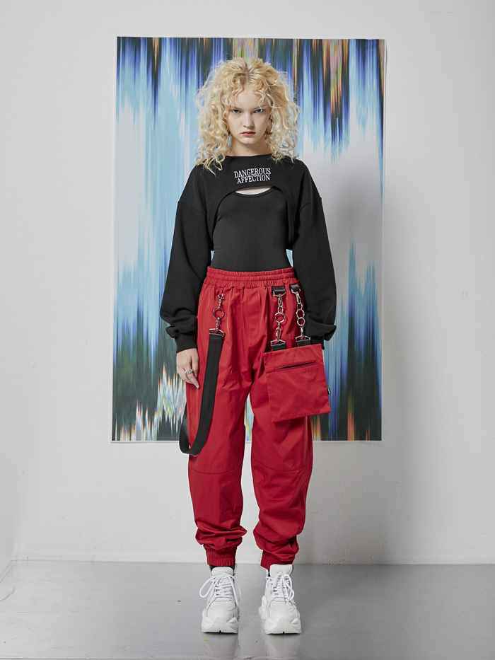 ACIDITY - CHAIN POCKET JOGGER PANTS (RED)