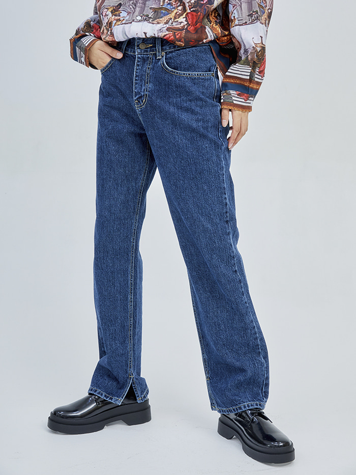 straight-fit slit blue jeans