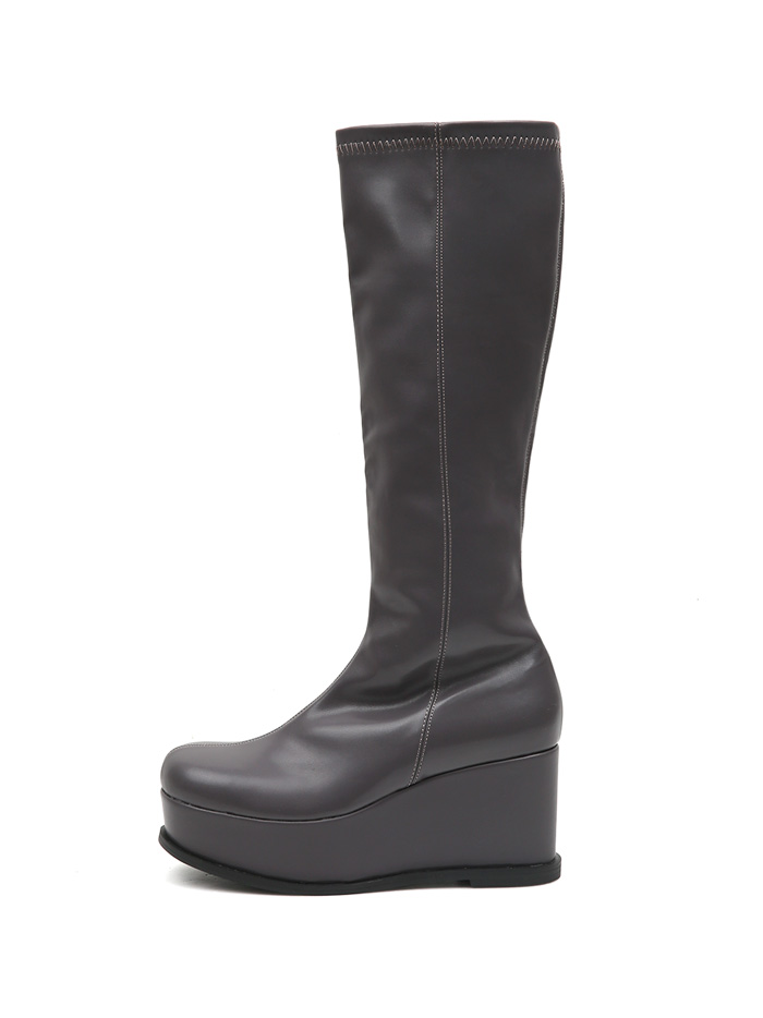 ACIDITY - PLATFORM LEATHER LONG BOOTS (GRAY)