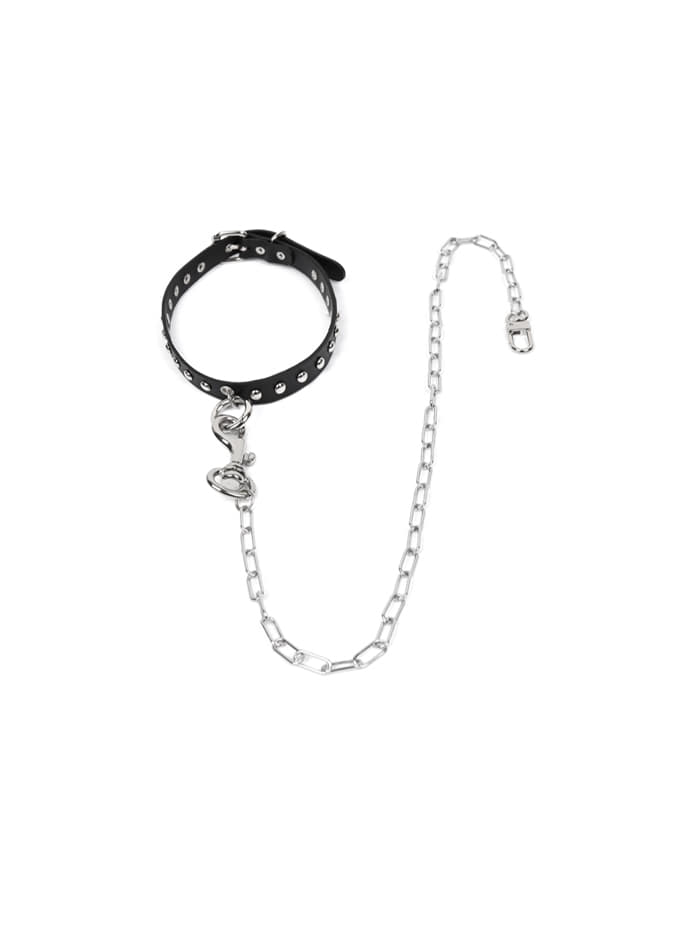 cow hide stud chain choker