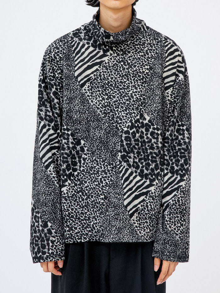 leopard zebra turtleneck T (2 color) - men