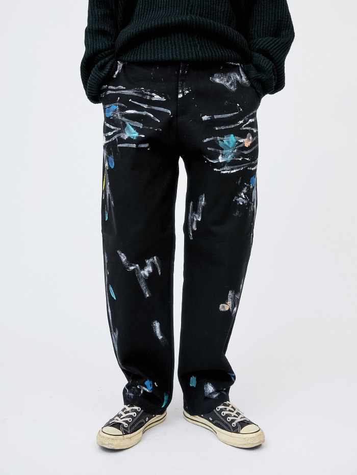 scribble painting wide pants - men