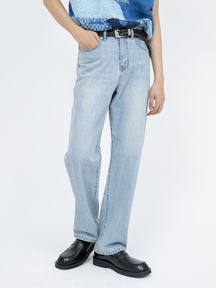 washed light blue jeans - men