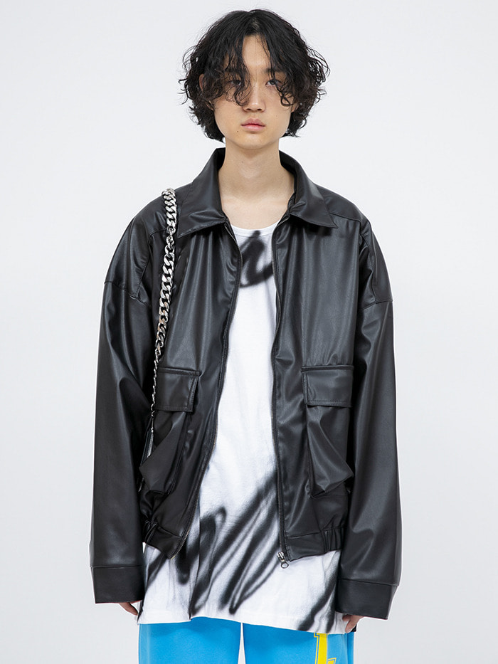 leather pocket blouson - men