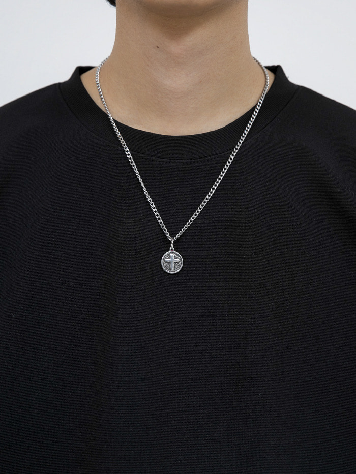 matte circular cross necklace