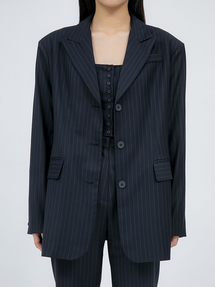 stripe 3 button single jacket - woman