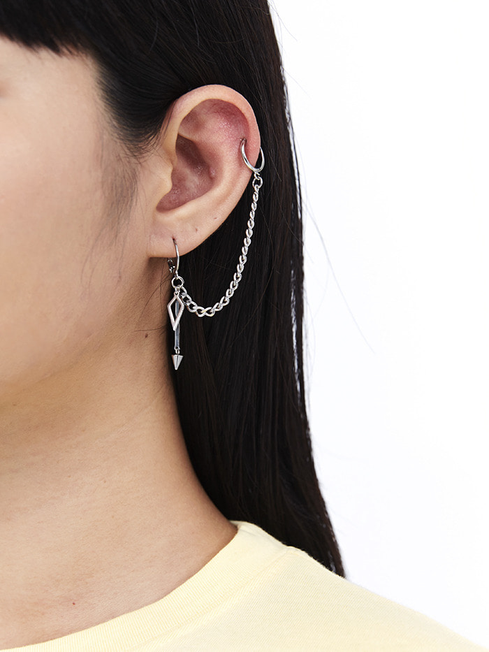 pointed silver chain earring