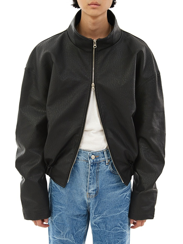 double zipper leather jumper
