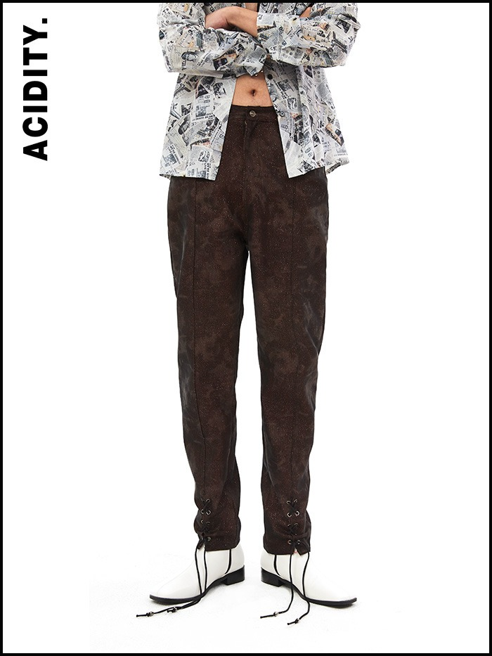 [ACIDTY] red metal eyelet skinny pants