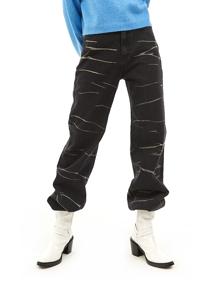 crack denim pants (2 color)