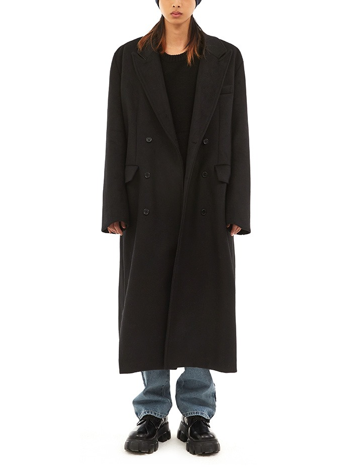 cashmere peaked lapel coat (4 color)