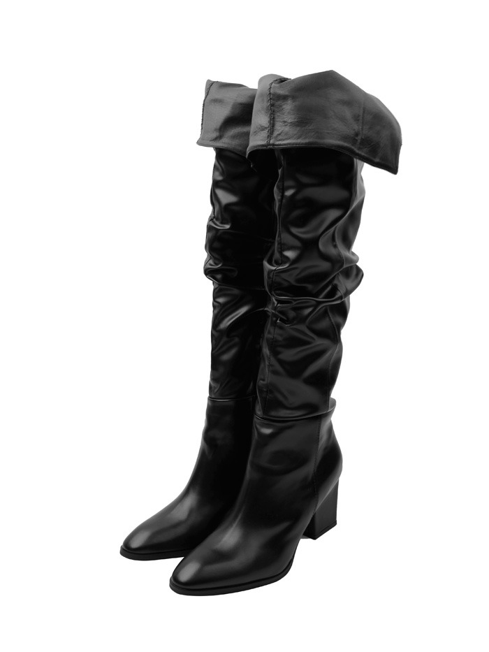 knee-high wrinkle long boots (3 color)
