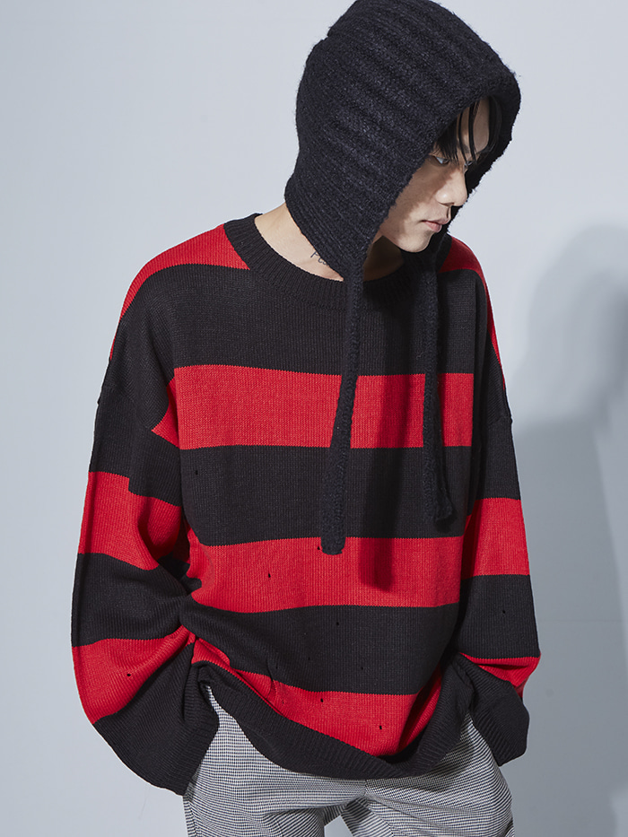 stripe damage knit (4 color) - UNISEX