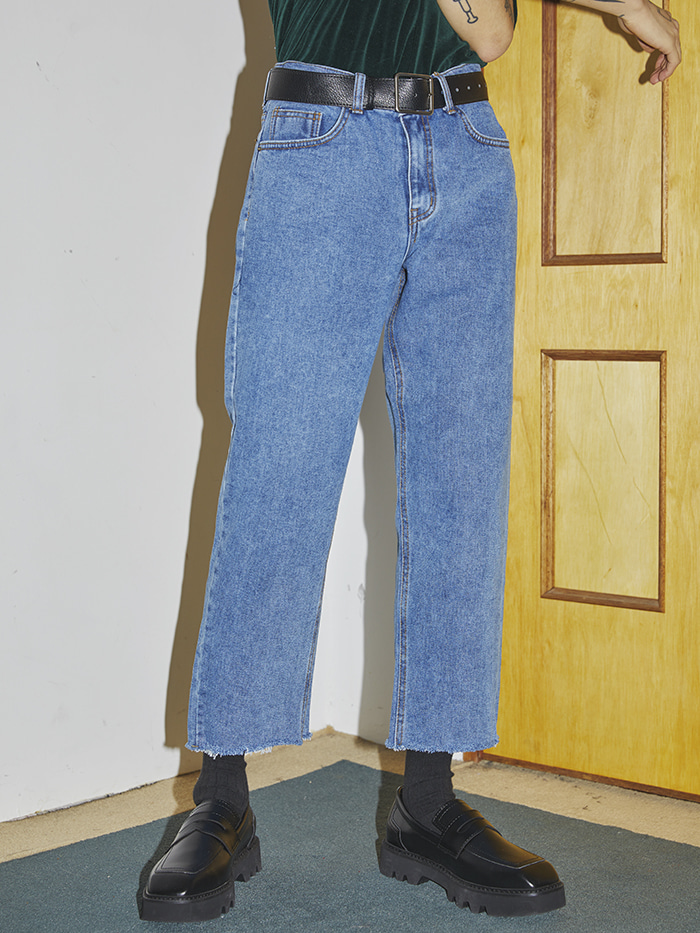 straight crop denim pants (2 color) - UNISEX