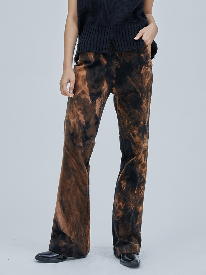 corduroy boots-cut tie dye pants (2 color) - woman