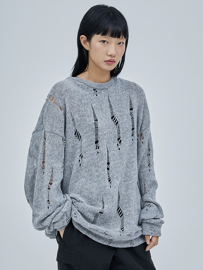 lambswool damage knit (2 color) - men