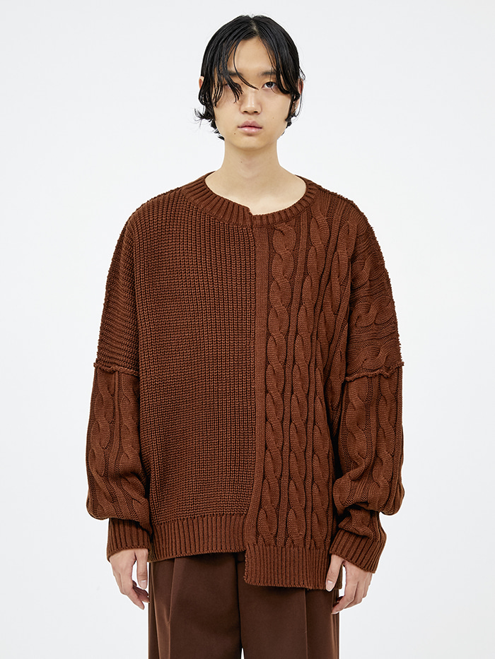 half-and-half cable knit (3 color) - men