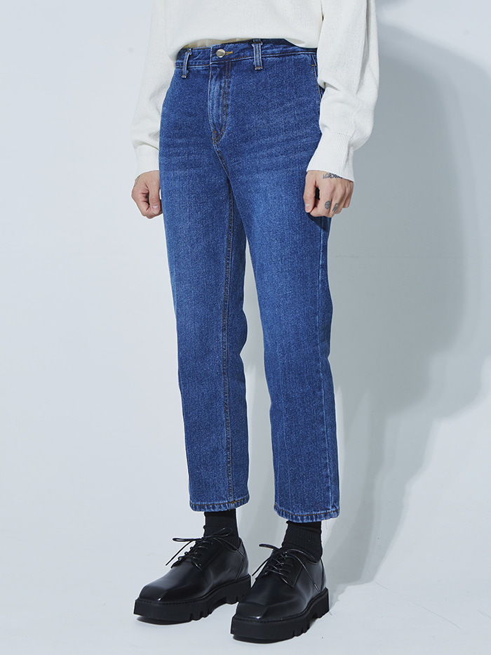 washed crop denim pants - UNISEX