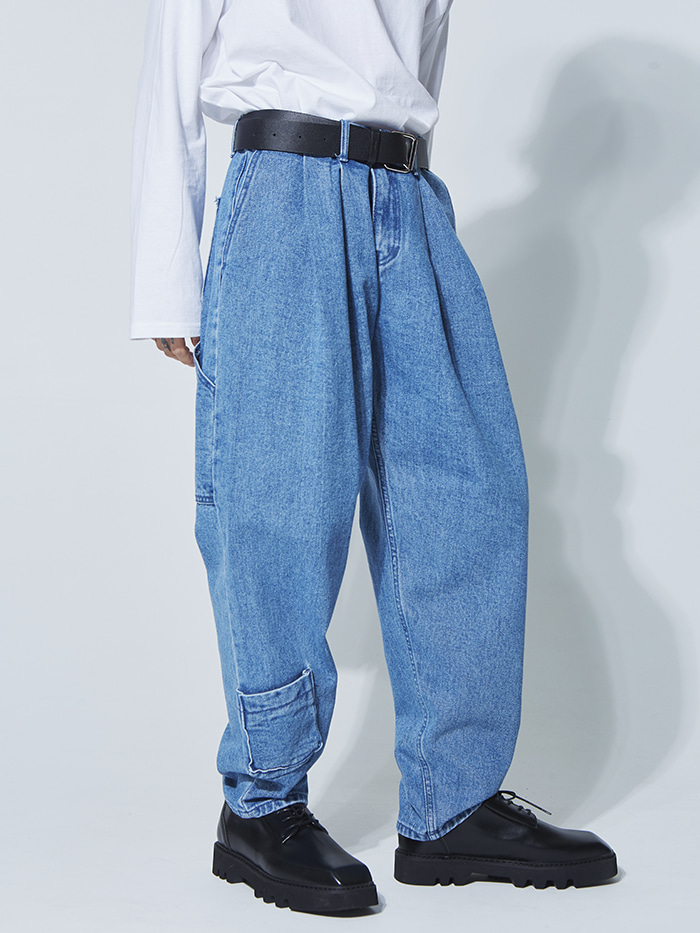 SALE pocket denim baggy pants - UNISEX