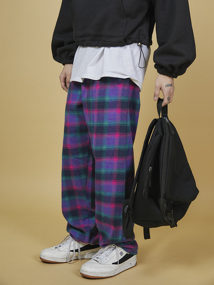 check banding wide pants - UNISEX