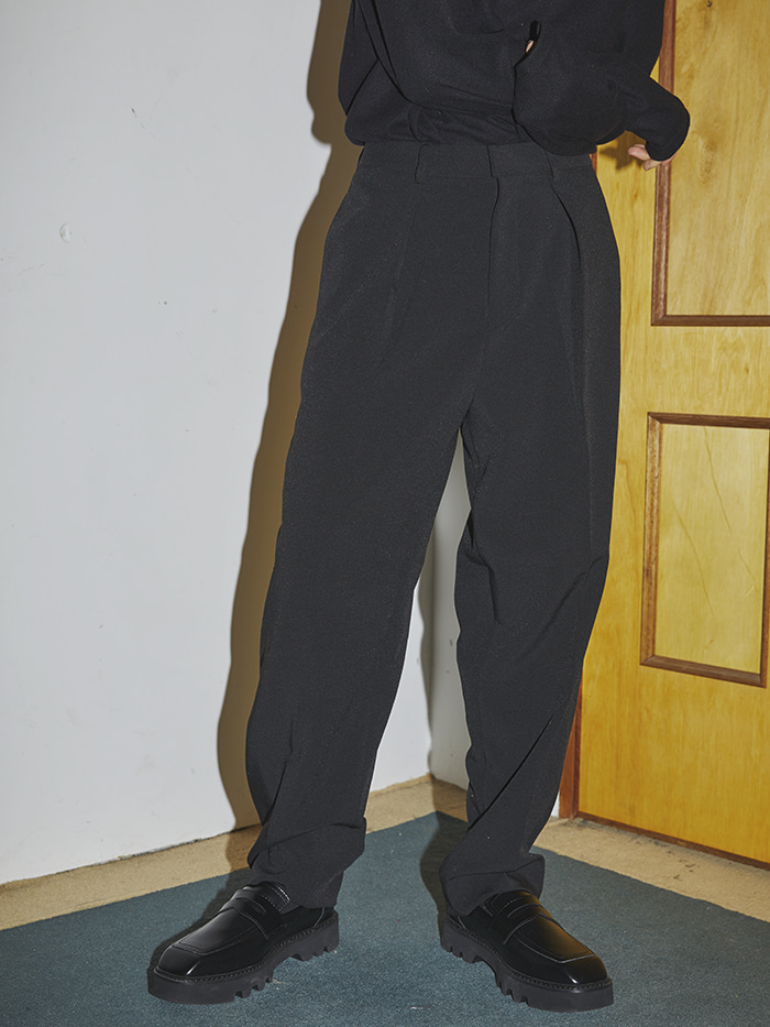 wide pintuck  banding slacks (2 color) - UNISEX