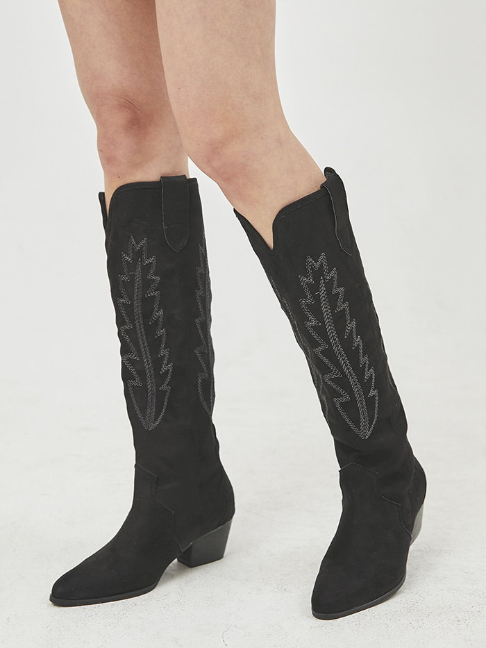 embroidery suede western boots (3 color)