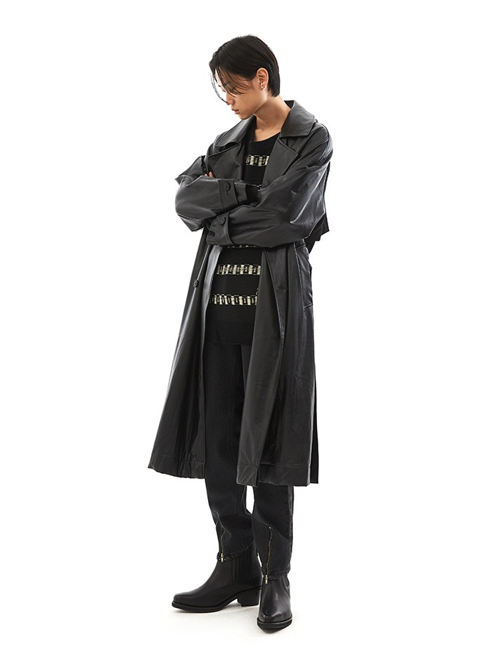 dual leather trench coat