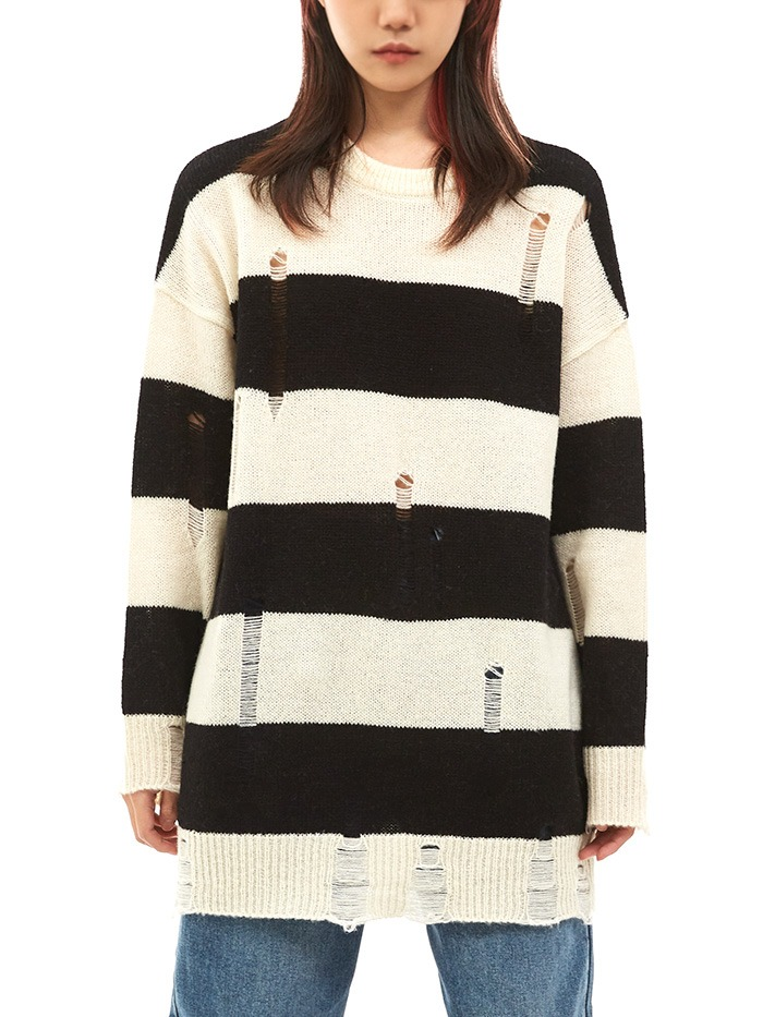 damage stripe knit (2 color)