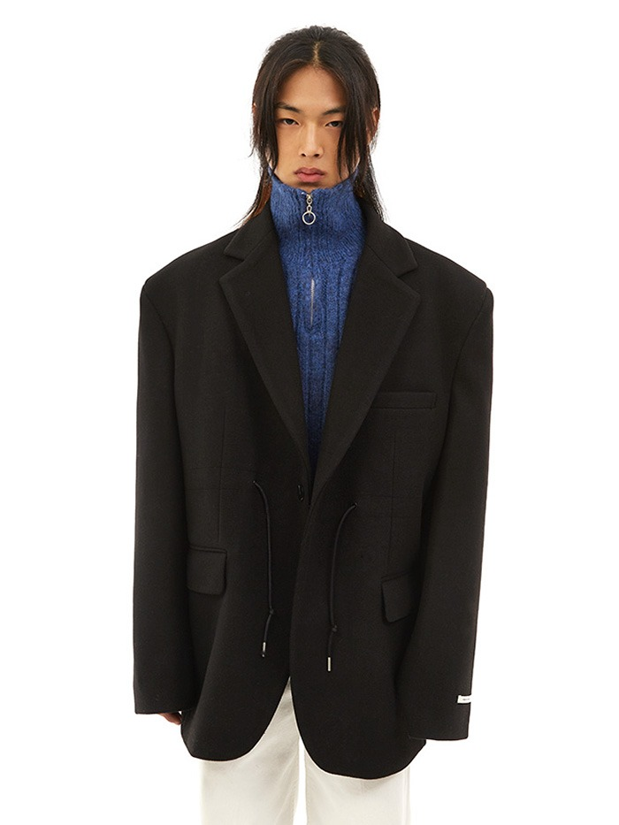 over-fit string wool jacket (3 color)