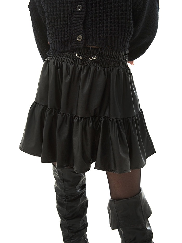 leather tiered skirts (2 color)