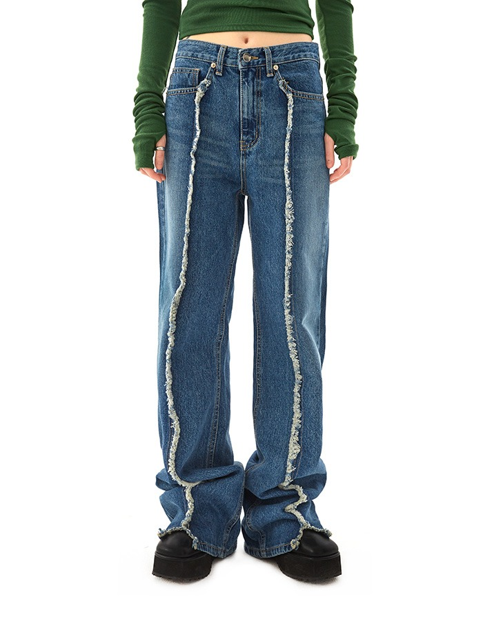 grunge damage denim pants