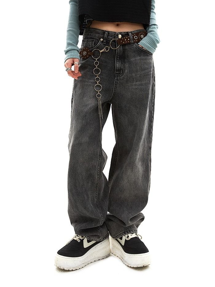 smudge denim pants